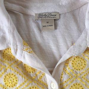 Lucky Brand Tops - Lucky Brand Embroidered Crochet button up collar